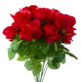 "Artificial Rose Bunch - 17"" - 12 Pieces - Red"