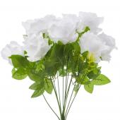 "Artificial Rose Bunch - 17"" - 12 Pieces - White"