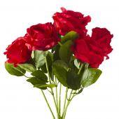 "Artificial Rose Bunch - 21"" - 18 Pieces - Red"
