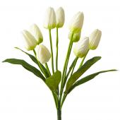 Artificial Large Bunch Tulip Flowers - 36 Pieces - White