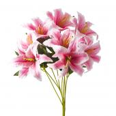 "Artificial Lily Flowers - 21"" - 24 Pieces - Pink"