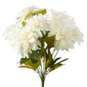 Artificial Dahlia Flower Bunch - 36 Pieces - White