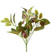 Artificial Linden Leaf Bunch - Green/Burgundy - 13