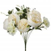 "Artificial Peony And Hydrangea 20"" - White - 12 Pieces"