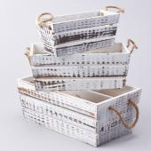 Decostar™ Wooden Box - White - 3 Piece Set - 8 Sets - 24 Pieces Total!