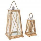 DECOSTAR™ 2 Piece Wood Lanterns Set - Natural