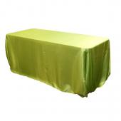 "Sleek Satin Tablecloth 90""x132"" Rectangular - Apple Green"