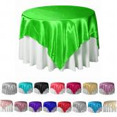 "Bulk Economy Satin Overlay - 90"" X 90"" - 12 Pieces - Many Colors!"