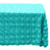 "Decostar™ Rectangle Satin Rosette Table Cover 90"" x 132"" - Aqua"