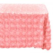 "Decostar™ Rectangle Satin Rosette Table Cover 90"" x 132"" - Blush"