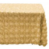 "Decostar™ Rectangle Satin Rosette Table Cover 90"" x 132"" - Champagne"