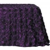 "Decostar™ Rectangle Satin Rosette Table Cover 90"" x 132"" - Eggplant"