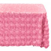 "Decostar™ Rectangle Satin Rosette Table Cover 90"" x 132"" - Pink"