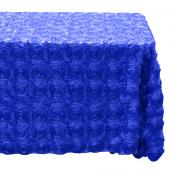 "Decostar™ Rectangle Satin Rosette Table Cover 90"" x 132"" - Royal Blue"