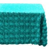 "Decostar™ Rectangle Satin Rosette Table Cover 90"" x 132"" - Teal"