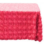 "Decostar™ Rectangle Satin Rosette Table Cover 90"" x 156"" - Coral"