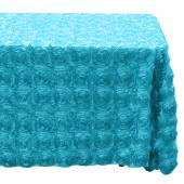 "Decostar™ Rectangle Satin Rosette Table Cover 90"" x 156"" - Turquoise"