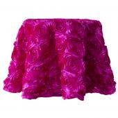 "Decostar™ Round Satin Rosette Table Cover 120"" - Fuchsia"