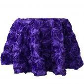 "Decostar™ Round Satin Rosette Table Cover 132"" - Purple"