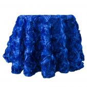 "Decostar™ Round Satin Rosette Table Cover 132"" - Royal Blue"