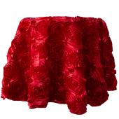 "Decostar™ Round Satin Rosette Table Cover 132"" - Red"