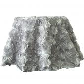 "Decostar™ Round Satin Rosette Table Cover 132"" - Silver"