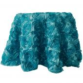"Decostar™ Round Satin Rosette Table Cover 132"" - Teal"