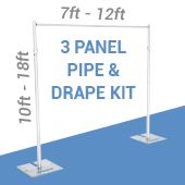 3-Panel Pipe and Drape Kit / Backdrop - 10-18 Feet Tall (Adjustable)