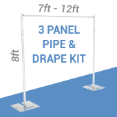 3-Panel Pipe and Drape Kit / Backdrop - 8 Feet Tall (Non-Adjustable)