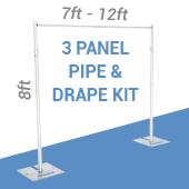 3-Panel Pipe and Drape Kit / Backdrop - 8 Feet Tall (Non-Adjustable)
