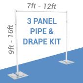 3-Panel Pipe and Drape kit / Backdrop - 9-16 Feet Tall (Adjustable)