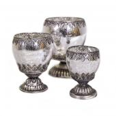 DecoStar™ 3 Piece Set! Leaf Engraved Gunmetal Candle Holder / Votive on Pedestal