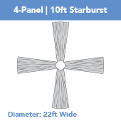 4-Panel 10ft Starburst Ceiling Draping Kit (22 Feet Wide)