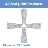 4-Panel 10ft Starburst Ceiling Draping Kit (22 Feet Wide)