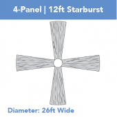 4-Panel 12ft Starburst Ceiling Draping Kit (26 Feet Wide)