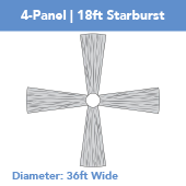 4-Panel 18ft Starburst Ceiling Draping Kit (36 Feet Wide)