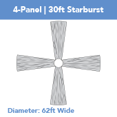 4-Panel 30ft Starburst Ceiling Draping Kit (62 Feet Wide)