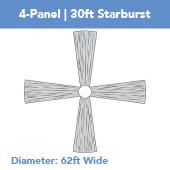 4-Panel 30ft Starburst Ceiling Draping Kit (62 Feet Wide)