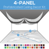 4 Panel Kit - Prefabricated Ceiling Drape Kit - 24ft Diameter - Select Drop, Fabric kind, and Color! Option for all Attachments!