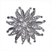 Decostar™ Rhinestone Brooch w/Pearl 60MM - 12 Pieces - Silver