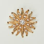 Decostar™ Rhinestone Brooch w/Pearl 60MM - 12 Pieces - Gold