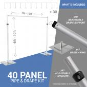 40-Panel Pipe and Drape Kit / Backdrop - 6-10 Feet Tall (Adjustable)