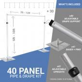 40-Panel Pipe and Drape Kit / Backdrop - 6-10 Feet Tall (Adjustable)