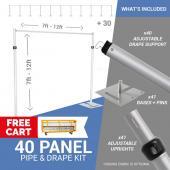 40-Panel Pipe and Drape Kit / Backdrop - 7-12 Feet Tall (Adjustable)