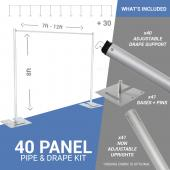 40-Panel Pipe and Drape Kit / Backdrop - 8 Feet Tall (Non-Adjustable)