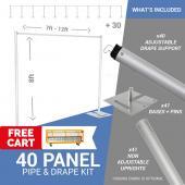 40-Panel Pipe and Drape Kit / Backdrop - 8 Feet Tall (Non-Adjustable)