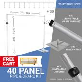 40-Panel Pipe and Drape Kit / Backdrop - 9-16 Feet Tall (Adjustable)