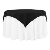 "54"" Square 200 GSM Polyester Tablecloth / Overlay - Black"
