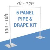 5-Panel Pipe and Drape Kit / Backdrop - 10-18 Feet Tall (Adjustable)