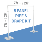 5-Panel Pipe and Drape Kit / Backdrop - 7-12 Feet Tall (Adjustable)